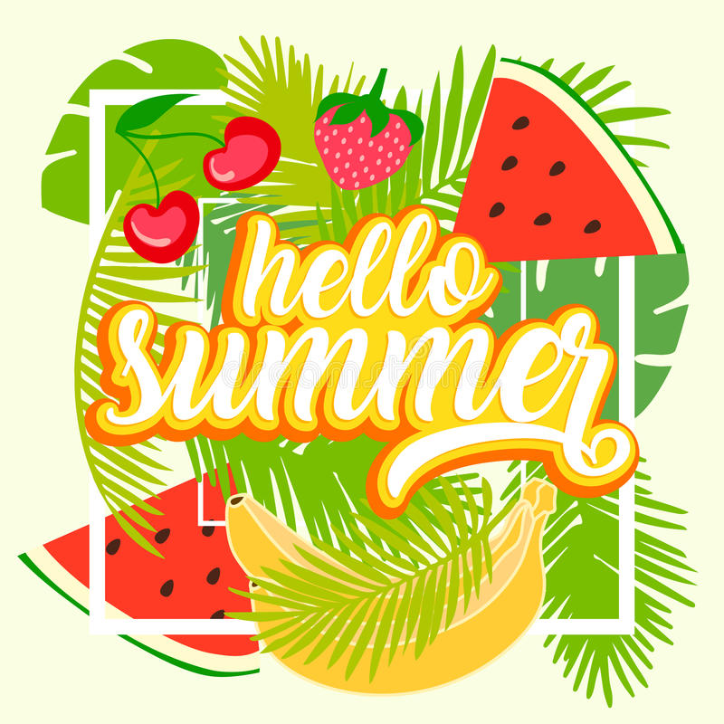 Tropical fruit background with leaves. Hello summer typographic vector illustration with fruits stock illustration