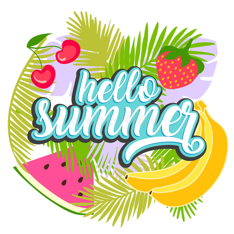 Tropical fruit background with leaves. Hello summer typographic vector illustration with fruits royalty free illustration