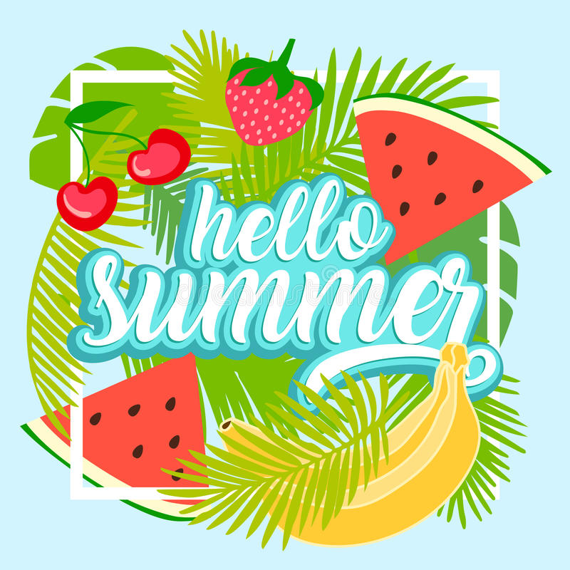 Tropical fruit background with leaves. Hello summer typographic vector illustration with fruits vector illustration