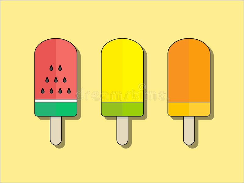 Tropical Fruit Ice Cream Bar. In Flat Design Style vector illustration