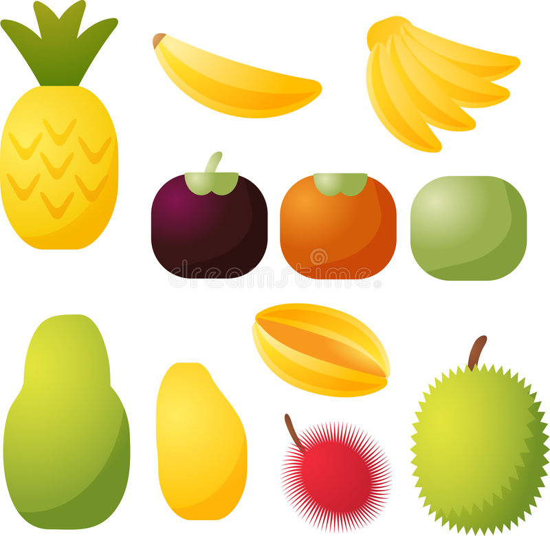 Tropical fruit icons royalty free illustration