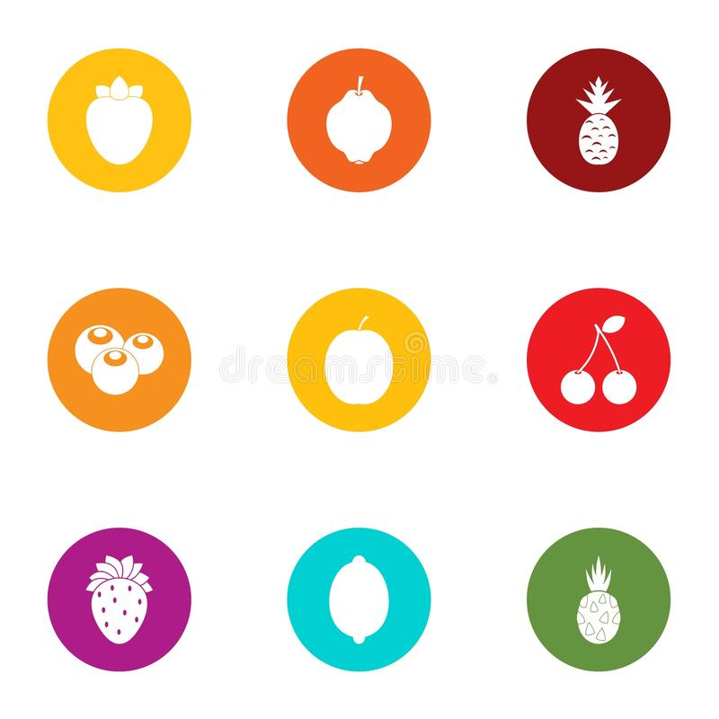Tropical fruit icons set, flat style royalty free illustration