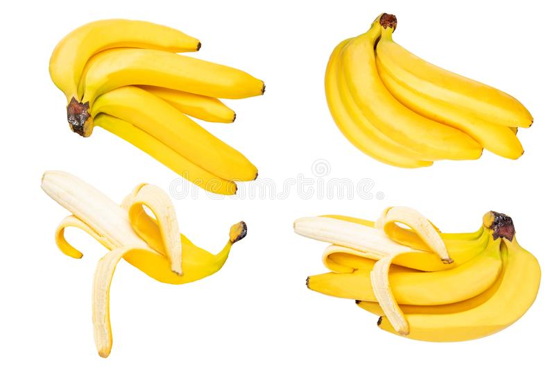 Tropical fruit isolated. Collection of tasty ripe bananas isolated on a white background. Health. stock image