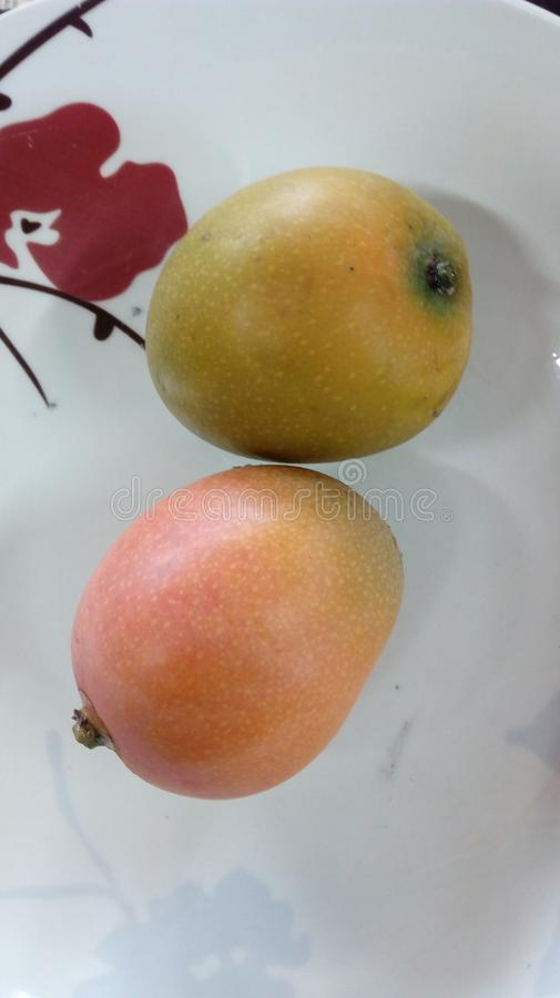Two tropical fruit of mango yellow in a plate stock image