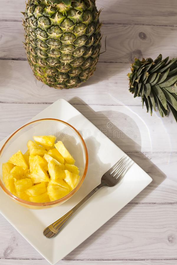 Tropical fruit pineapple - Ananas comosus royalty free stock photos