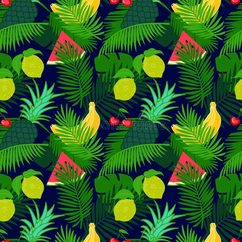 Tropical fruit seamless pattern with jungle leaves floral dark color background. vector illustration