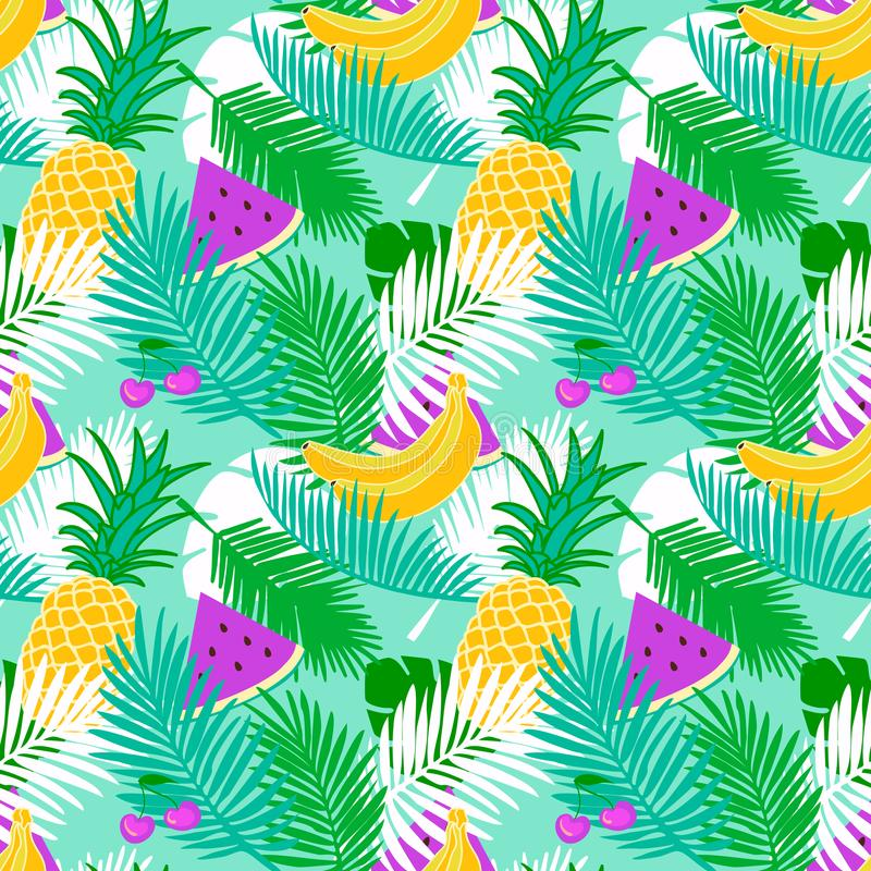 Tropical fruit seamless pattern with jungle leaves floral pastel color background. vector illustration