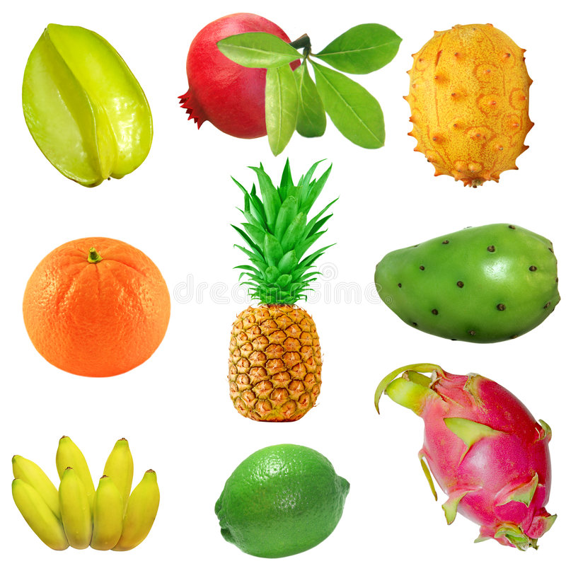 Tropical Fruit Set stock images