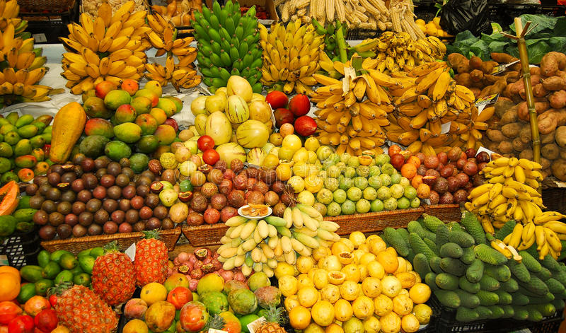 Tropical fruit stand. Tropical fruit on a market in funchal madeira royalty free stock photos