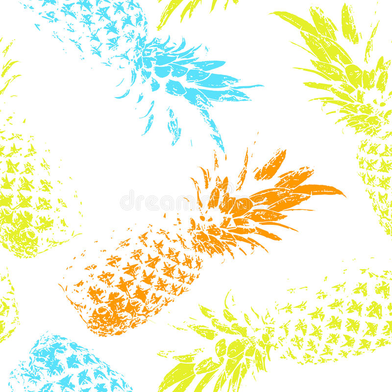 Tropical fruit on a white background. Bright seamless pattern with pineapples. vector illustration