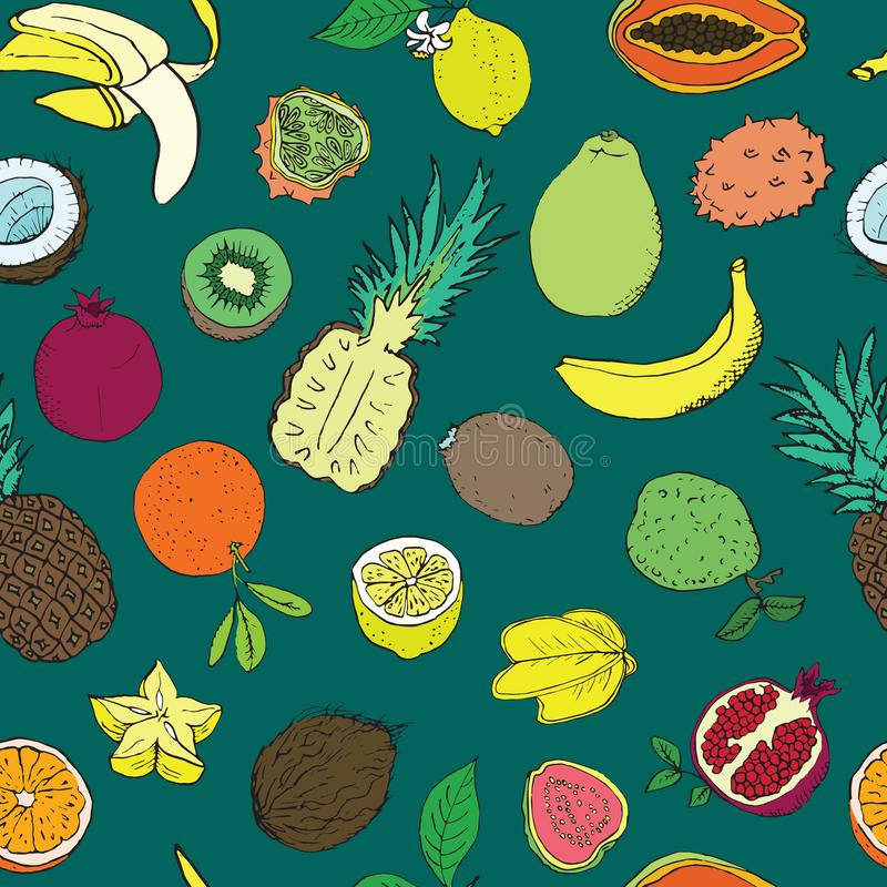 Tropical fruits collection, seamless pattern design on dark green background stock illustration