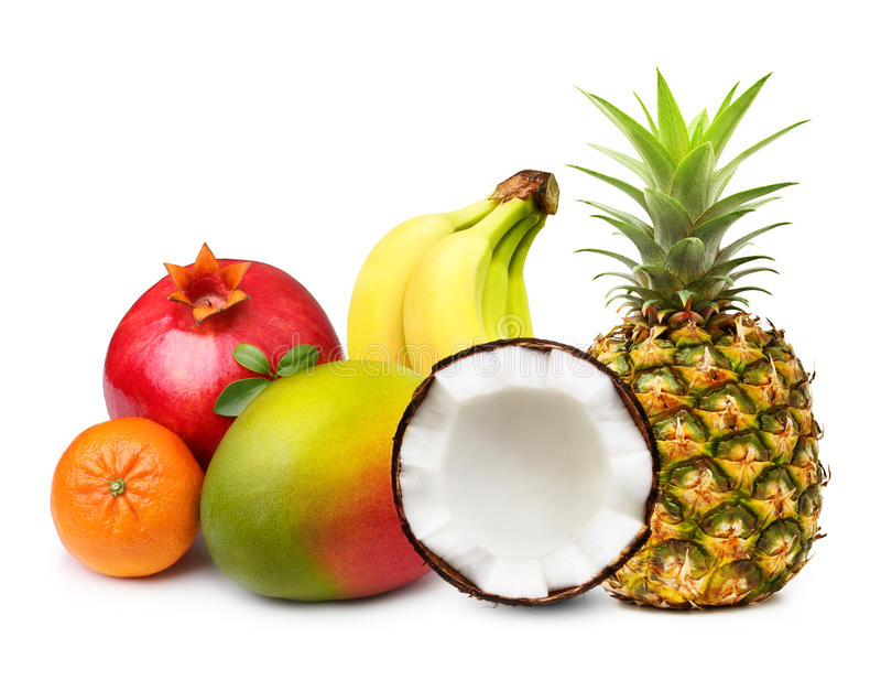 Tropical fruits isolated stock photos