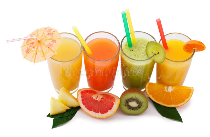 Tropical fruits and juice isolated on white royalty free stock images
