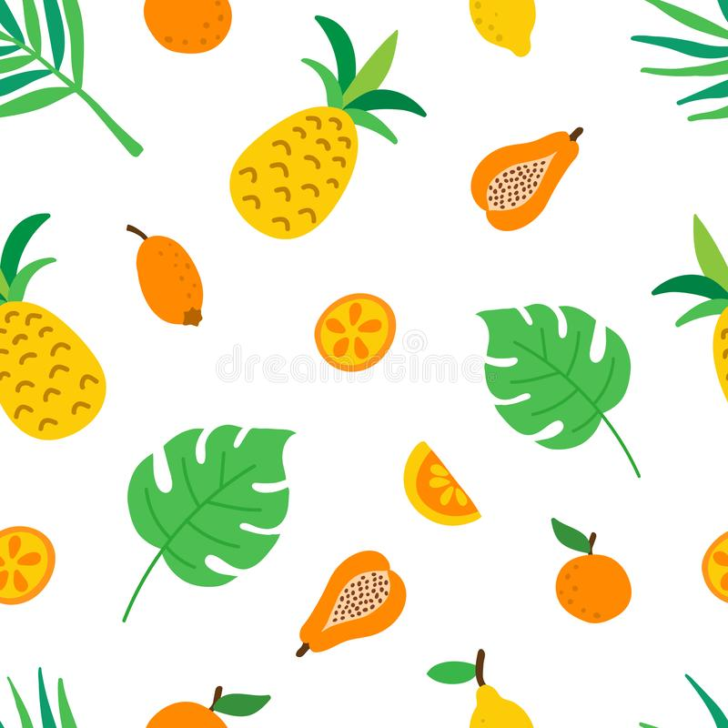 Tropical fruits and leaves seamless pattern. Cute summer background with pineapples, lemon slices and oranges, monstera vector illustration