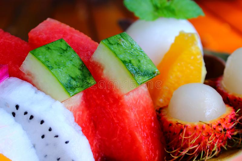 Tropical fruits slices stock photography