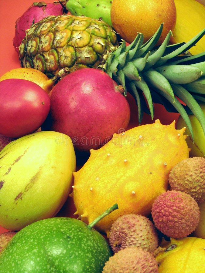 Tropical fruits and vegetables. Background royalty free stock photography
