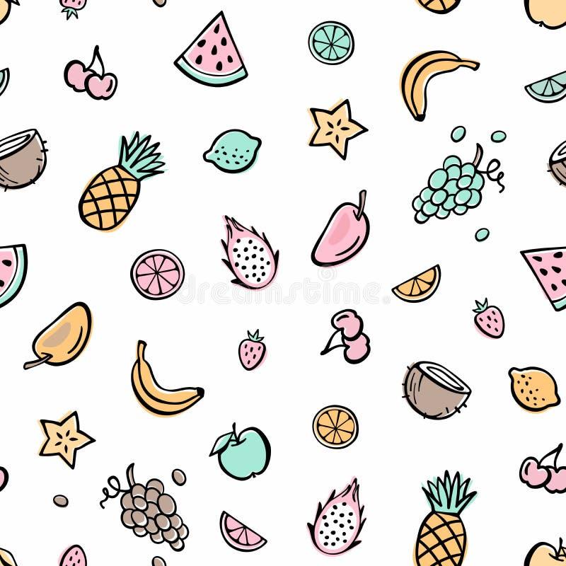 Tropical fruits. Vegetable food pattern. stock illustration