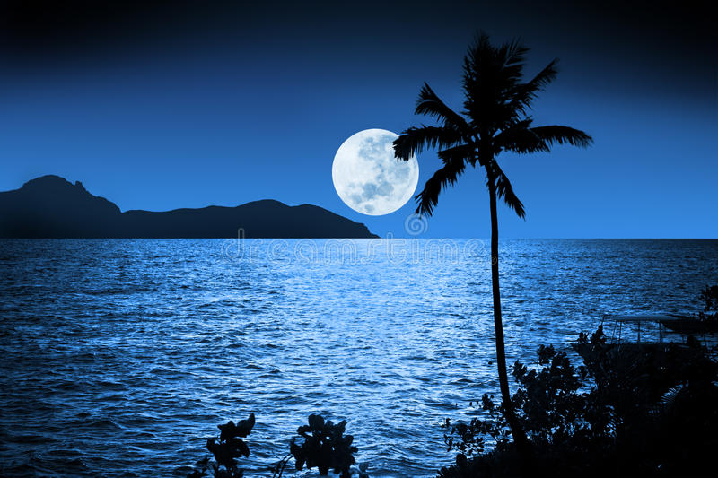 Ocean Night Moon Sky Tropical Stock Image - Image of ocean ...