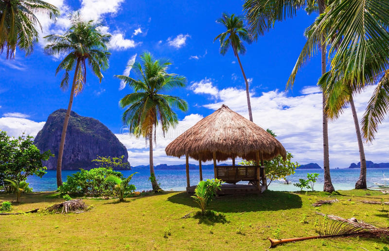 Tropical getaway - wild beauty of Philippines island,amazing scenery of El nido royalty free stock images