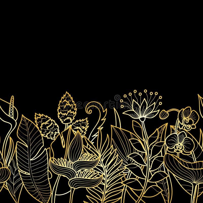 Tropical Gold Seamless Border stock illustration