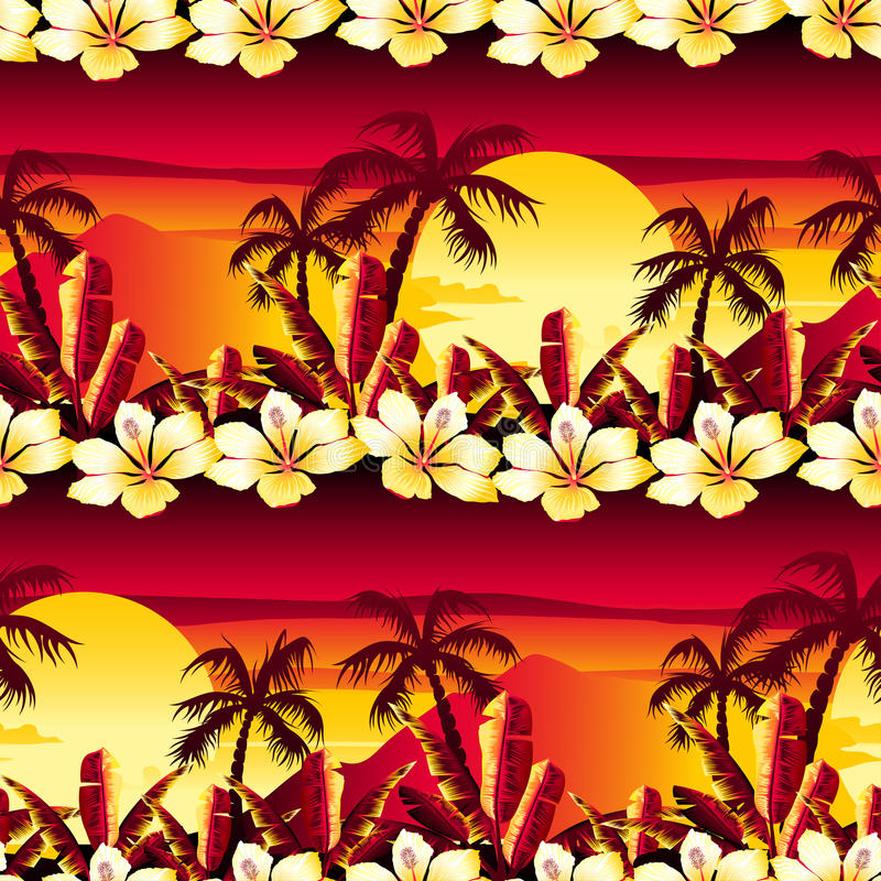 Free Tropical Golden Sunset With Hibiscus Flowers Seamless Pattern Royalty Free Stock Image - 58513856