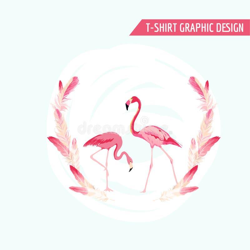 Tropical Graphic Design. Flamingo Birds stock illustration