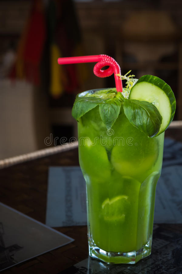 Tropical green cocktail with lemon and fresh mint. Shallow dof stock photos