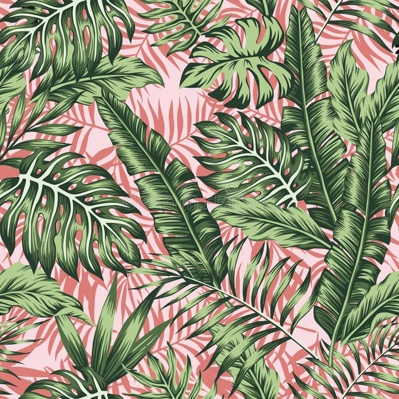 Tropical green jungle pink plants background vector illustration
