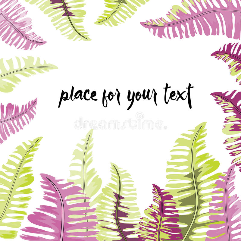 Tropical green and lila leaves frame with place for your text. Vector illustration on white background royalty free illustration