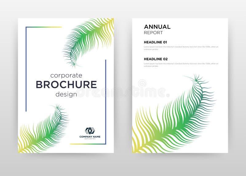 Tropical green palm leaf design for annual report, brochure, flyer, poster. Frame on white background vector illustration for royalty free illustration