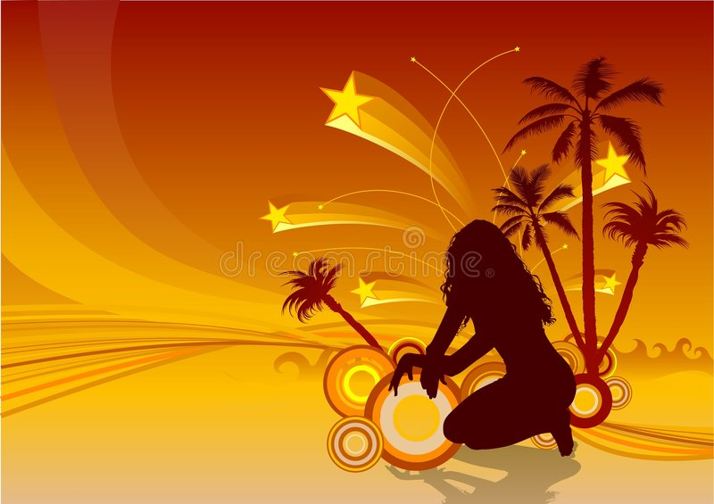 Download Tropical Grunge stock vector. Image of girl, silhouettes - 2897479