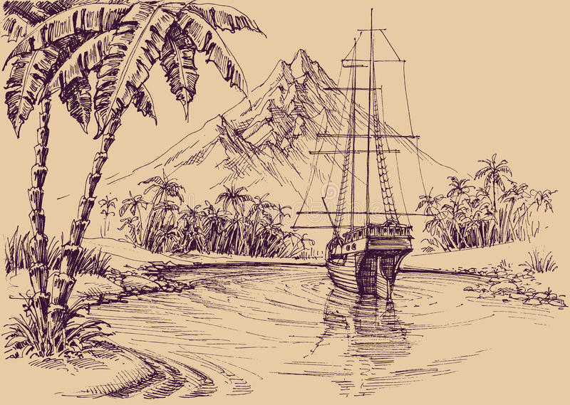 Tropical gulf and boat. Pirate`s bay illustration vector illustration