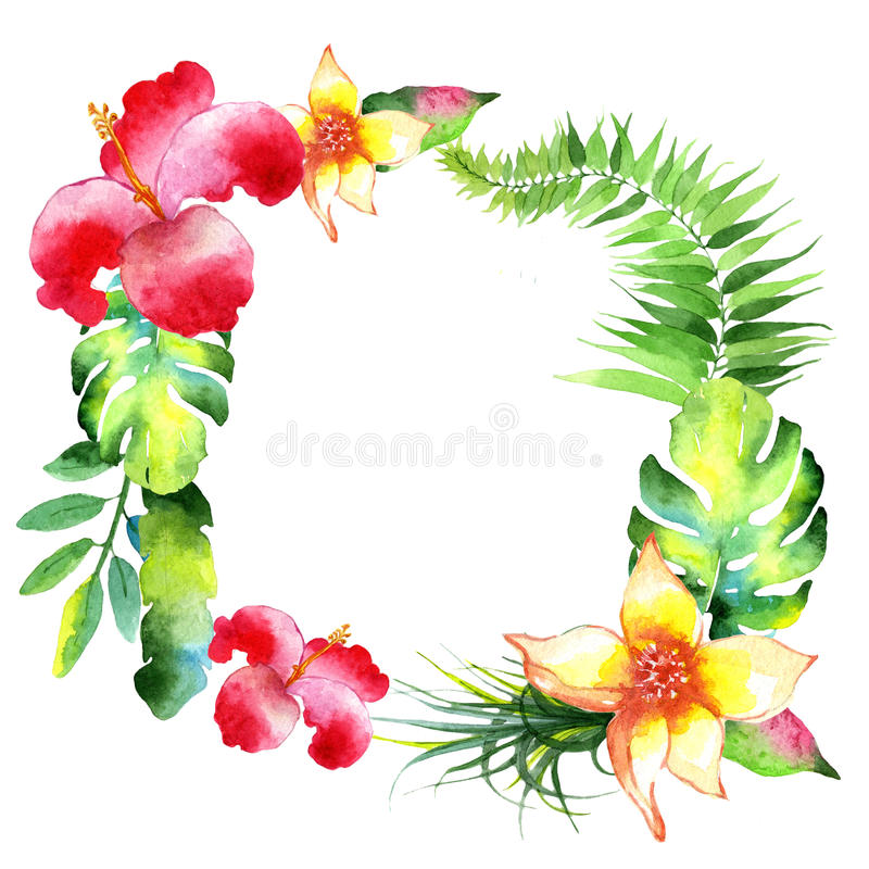 Tropical Hawaii leaves palm tree wreath in a watercolor style. stock illustration