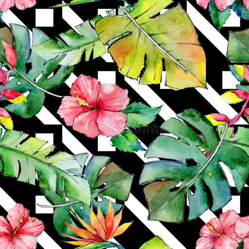Tropical Hawaii leaves pattern in a watercolor style. royalty free illustration