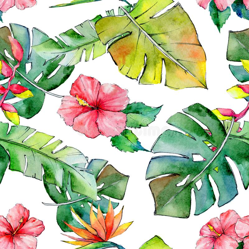 Tropical Hawaii leaves pattern in a watercolor style. vector illustration