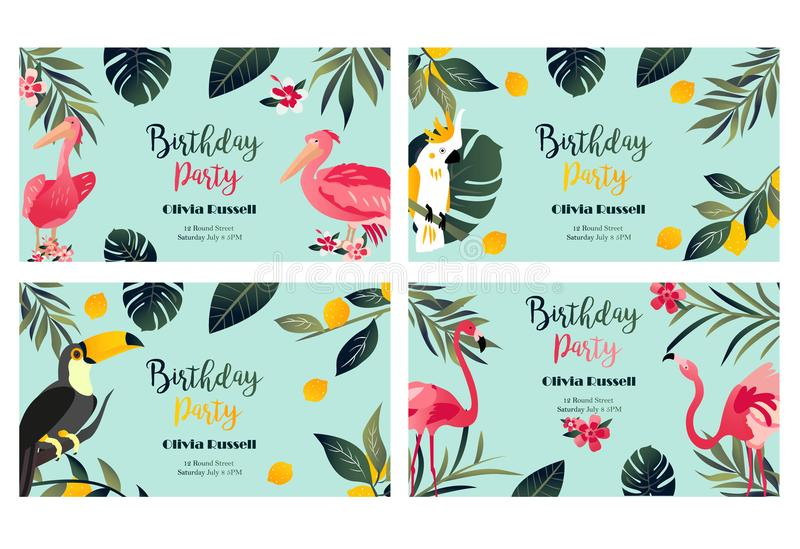 4 Tropical Hawaiian Posters with toucan, parrot, pelican and flamingo. vector illustration