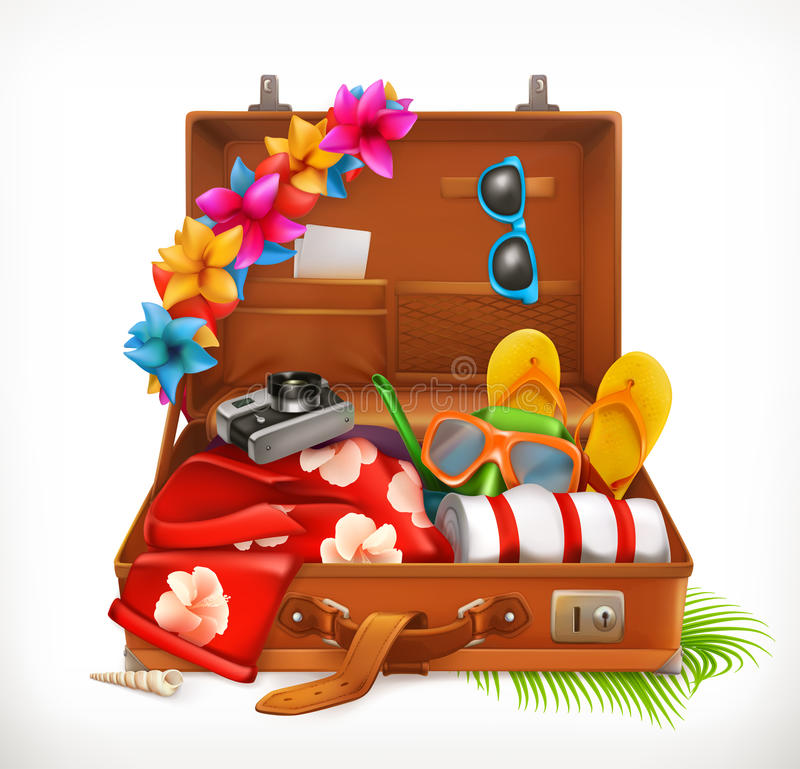Tropical Holidays. Summer vacation, open suitcase. Vector icon royalty free illustration