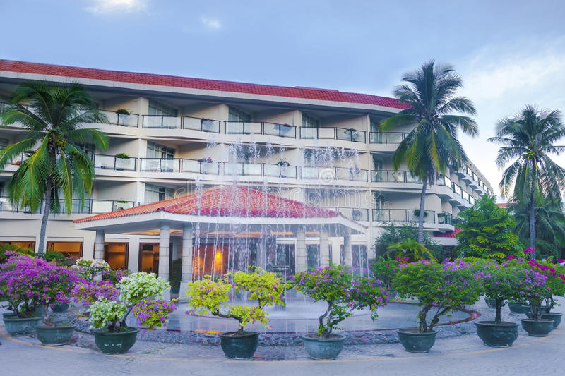 Tropical hotel building royalty free stock photo
