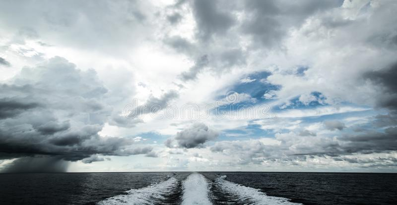Tropical hurricane from motor boat stock photos