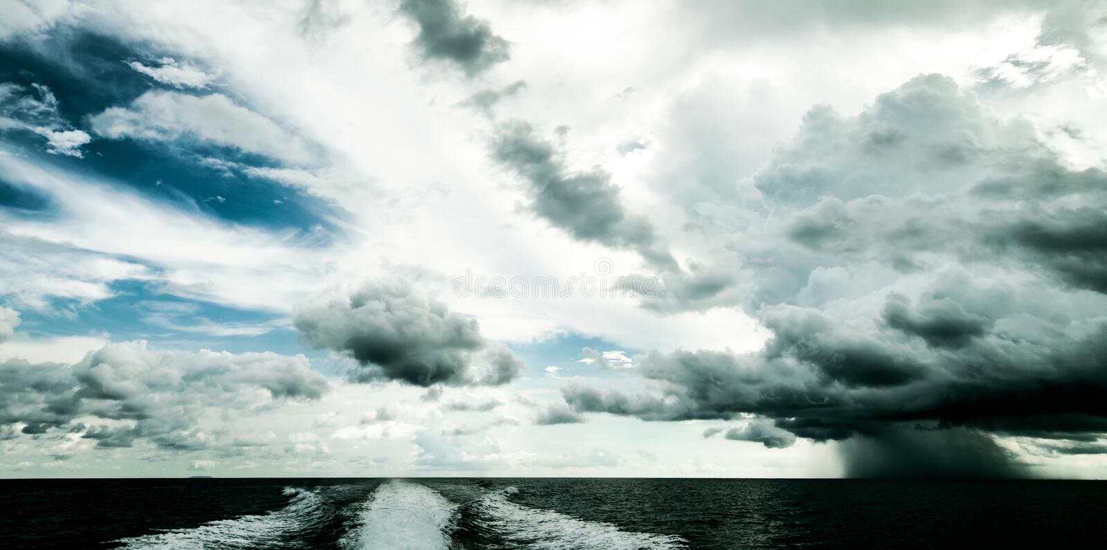 Tropical hurricane from motor boat stock images