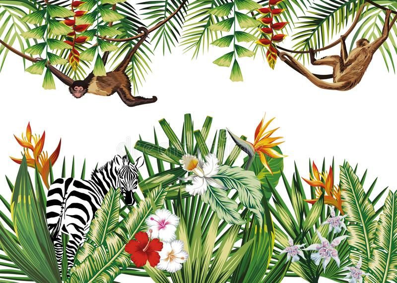 Tropical illustration with flowers plants monkey zebra. Tropical illustration with flowers jungle plants animal monkey and zebra. Vector composition stock illustration