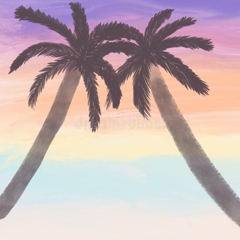 Tropical illustration. Summer vacation illustration. Background illustration. Natural landscape. Ecology poster. Two palm trees on. A sunset background royalty free illustration