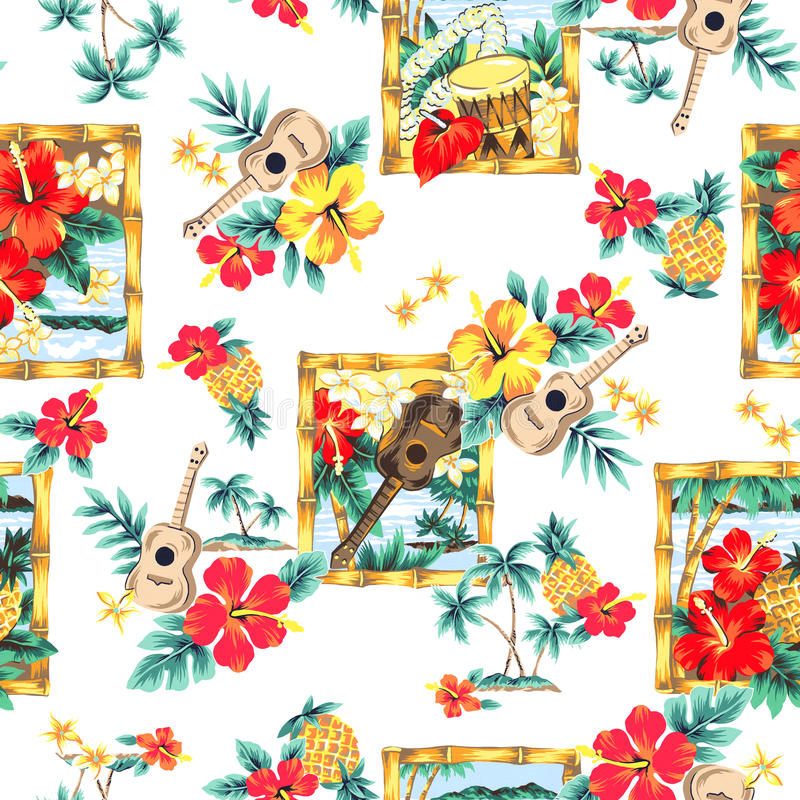 Tropical image in a pattern,. I made a tropical image an illustration, I drew it with a writing brush and paint in a freehand drawing, I am connected repeatedly