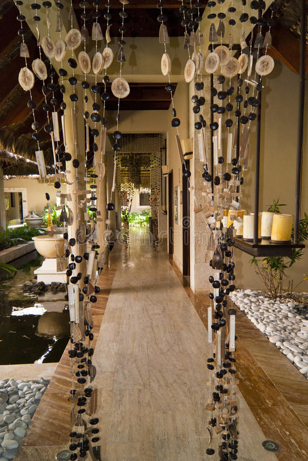 Tropical interior in spa resort stock image