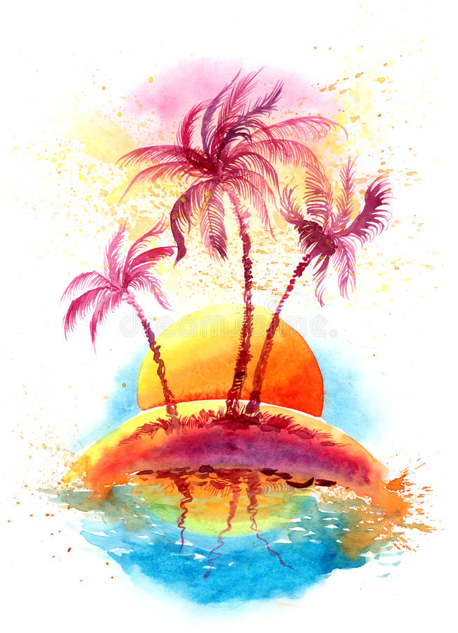 Tropical island. Sunny tropical island (Cbm painting royalty free illustration