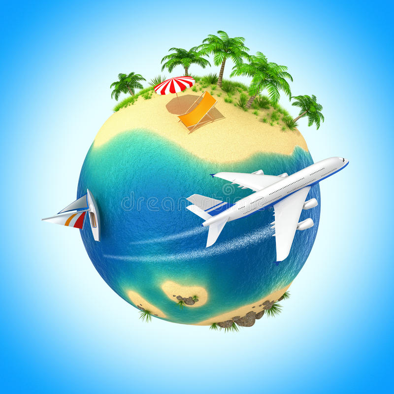 Download Tropical island stock illustration. Image of render, small - 23683217
