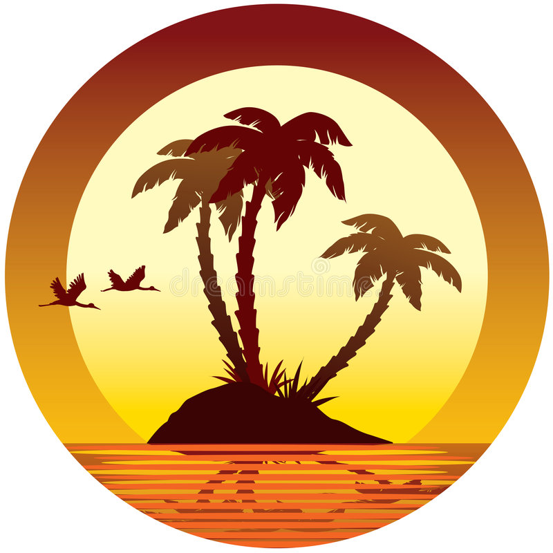 Tropical island royalty free illustration