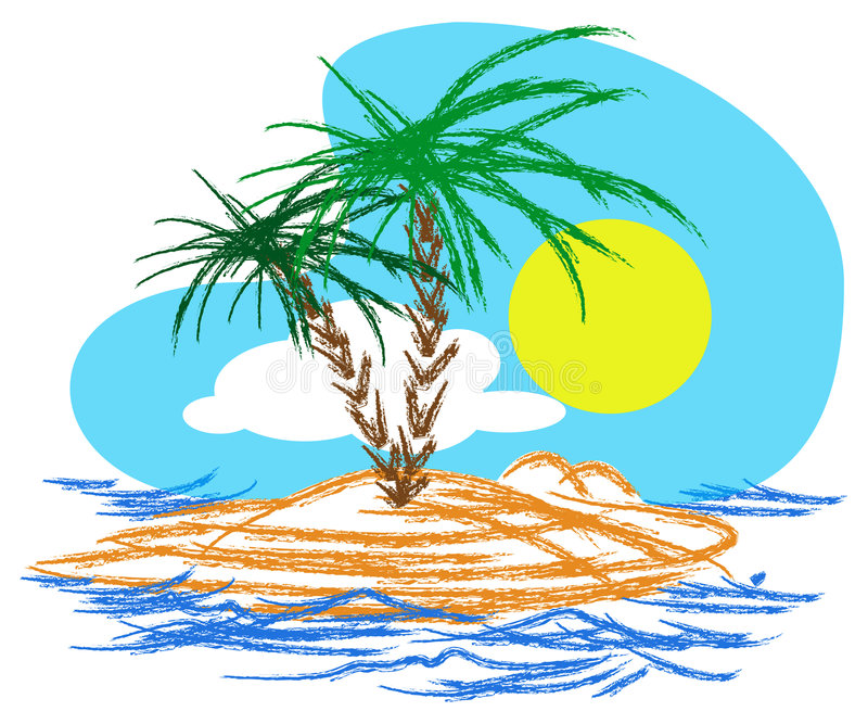 Download Tropical island stock vector. Image of clouds, tropic - 5246045