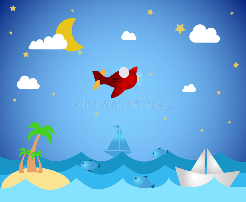 Tropical island and airplane vector illustration