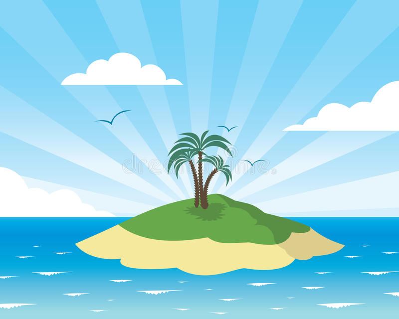 Tropical Island Cartoon: Tropical Island Card Stock Vector. Illustration Of